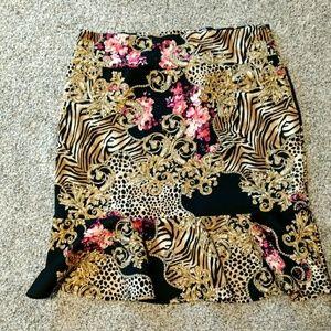 Thalia leopard XXL knee length formal skirt
